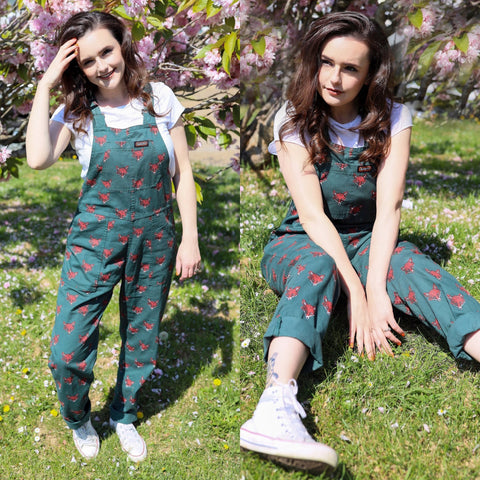 Fox Print Dungarees in Twill Cotton by Run and Fly - Minimum Mouse