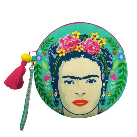 Frida Kahlo Round Make Up Bag by House of Disaster - Minimum Mouse