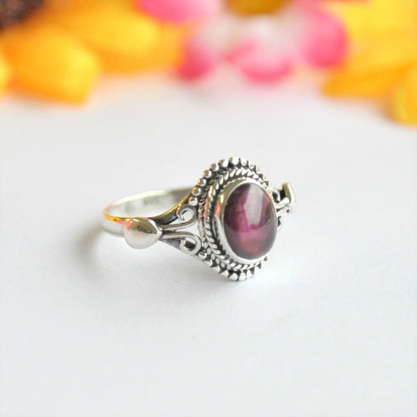 Garnet Sterling Silver Ring - Minimum Mouse