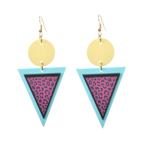 Geometric Leopard Acrylic Earrings by Love Boutique - Minimum Mouse