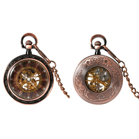 Glass Face Copper Mechanical Hand Wind Pocket Watch - Minimum Mouse