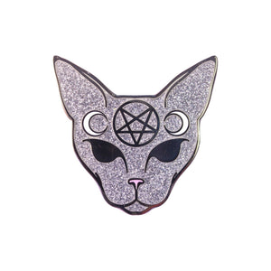 Glittery Pentagram Cat Lapel Pin Badge - Minimum Mouse