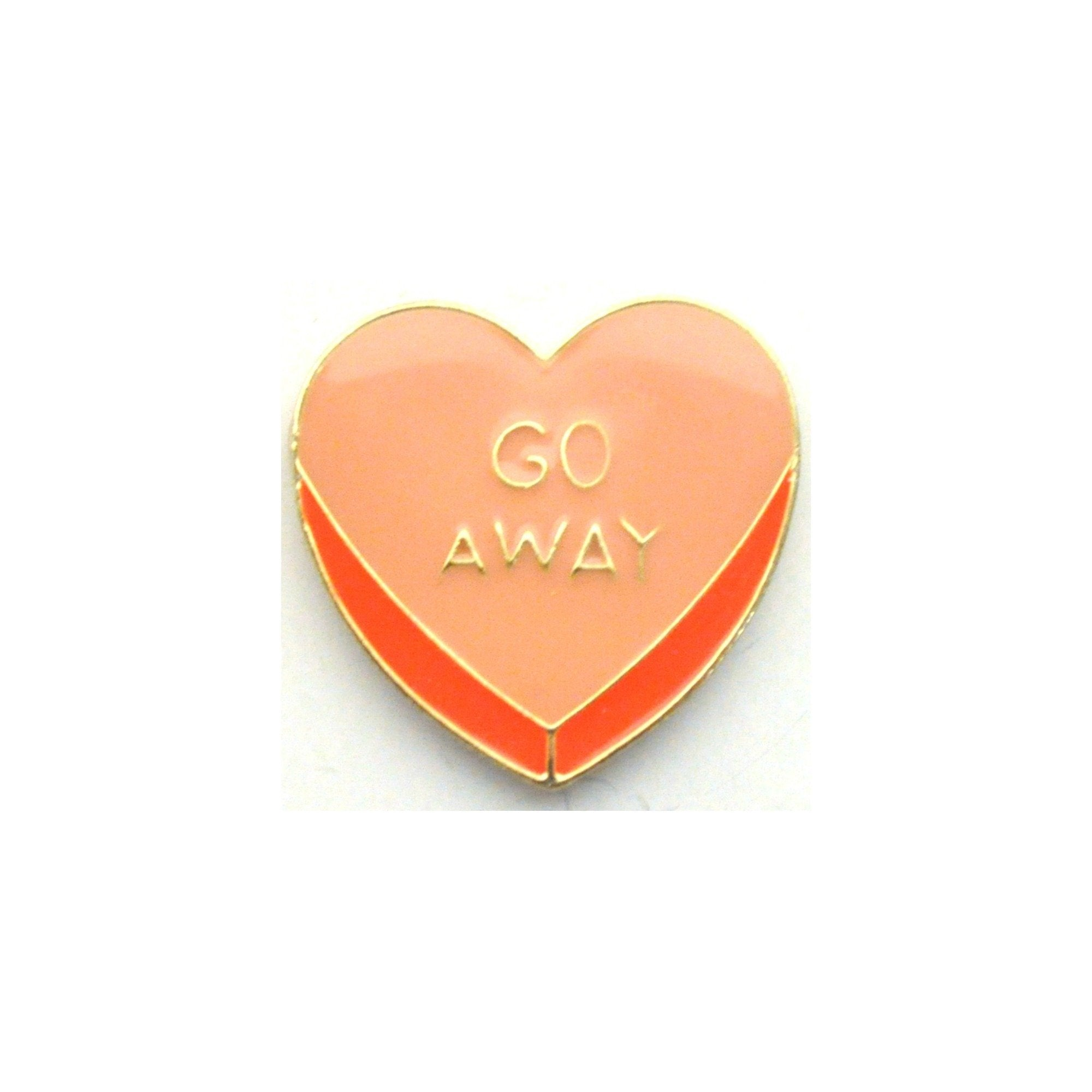 Go Away Love Heart Enamel Lapel Pin Badge - Minimum Mouse