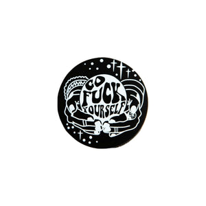 Go Fuck Yourself Crystal Ball Lapel Pin Badge - Minimum Mouse