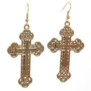 Gold Baroque Cross Earrings - Minimum Mouse