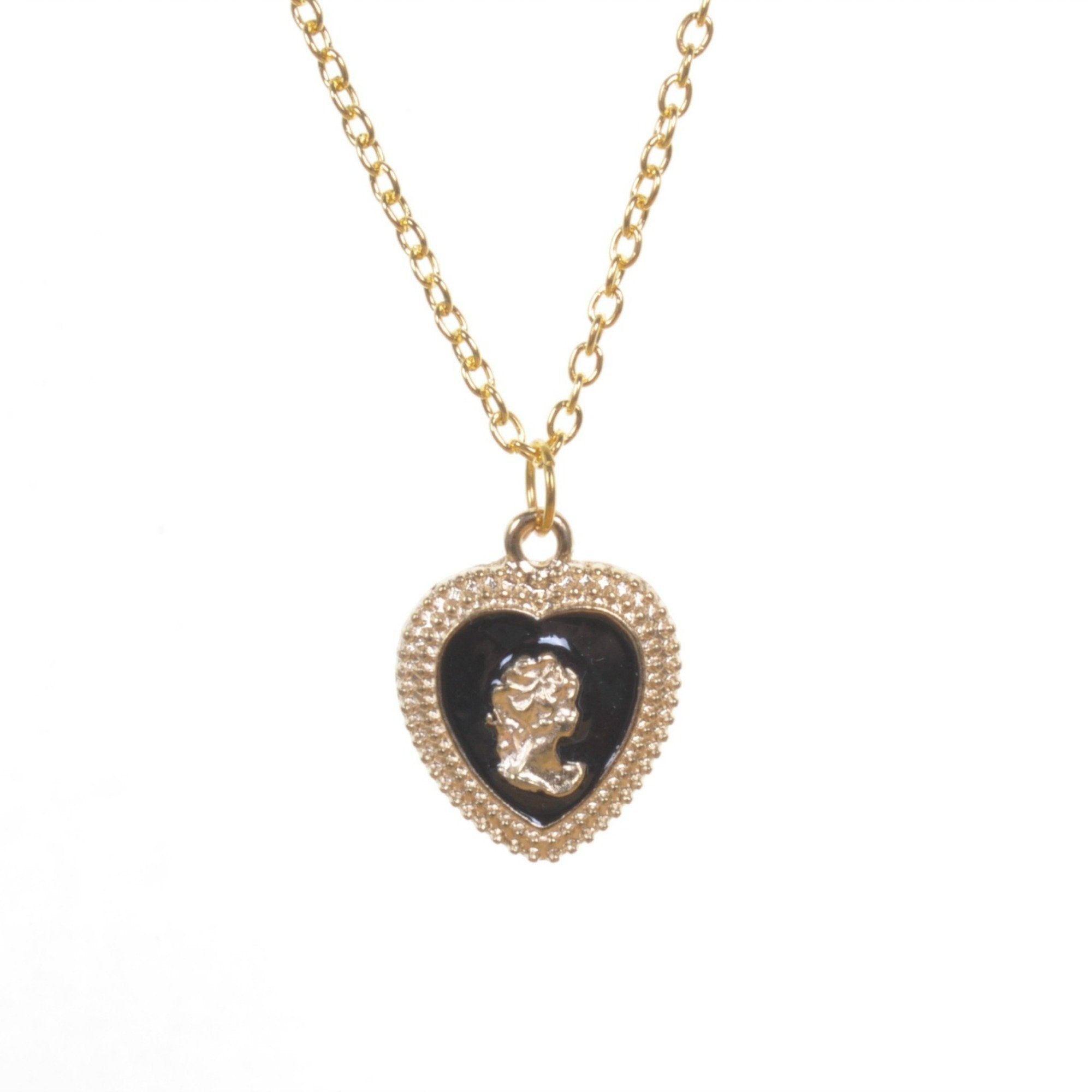 Gold Black Heart Cameo Pendant Necklace - Minimum Mouse