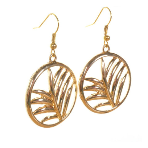 Gold Palm Leaf Earrings - Minimum Mouse