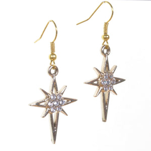 Gold Sparkle Star Earrings - Minimum Mouse
