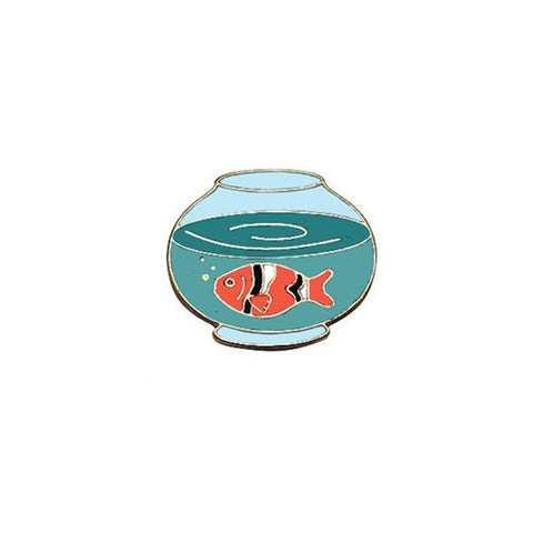 Goldfish Bowl Enamel Lapel Pin Badge - Minimum Mouse