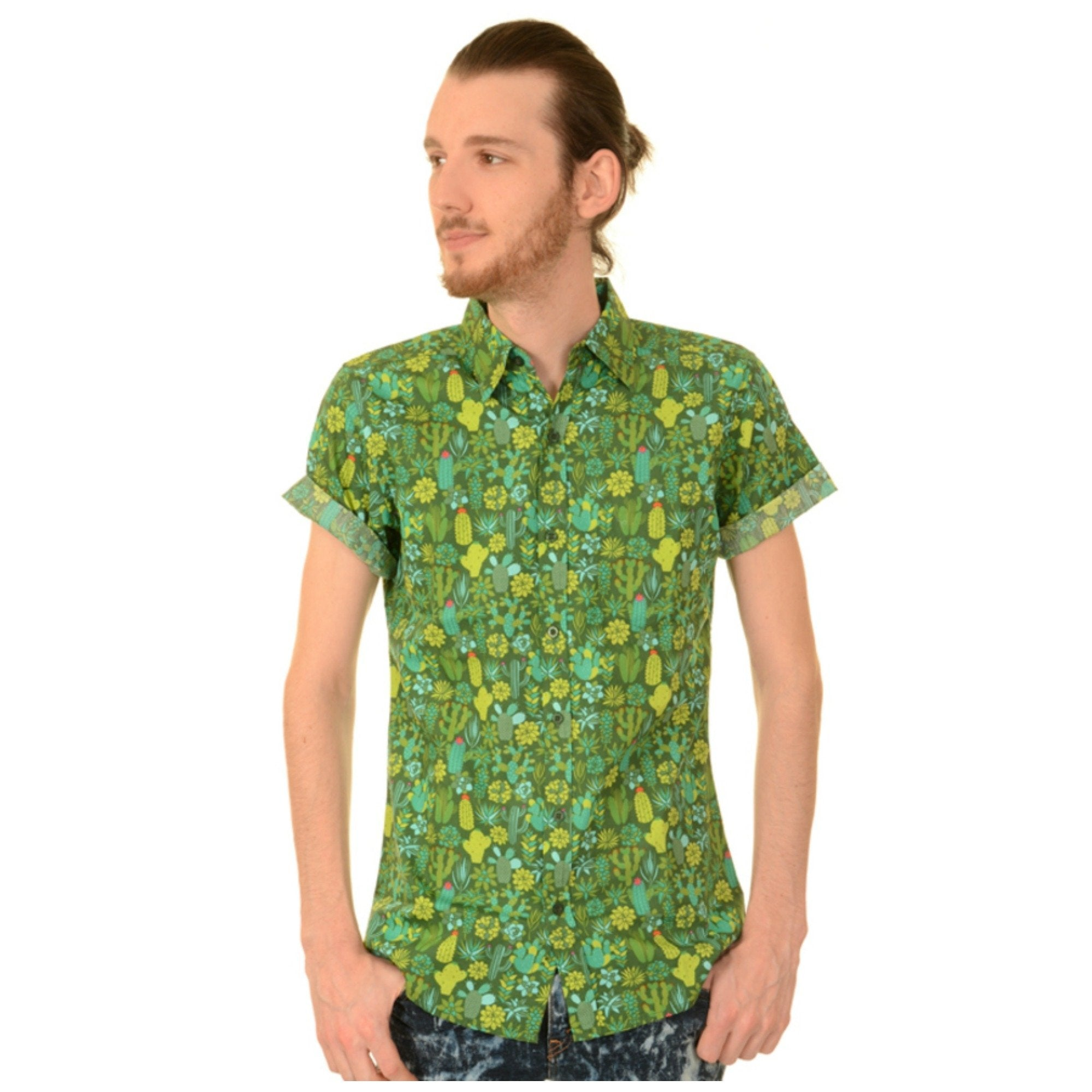 Green Cactus Print Shirt by Run and Fly - Minimum Mouse