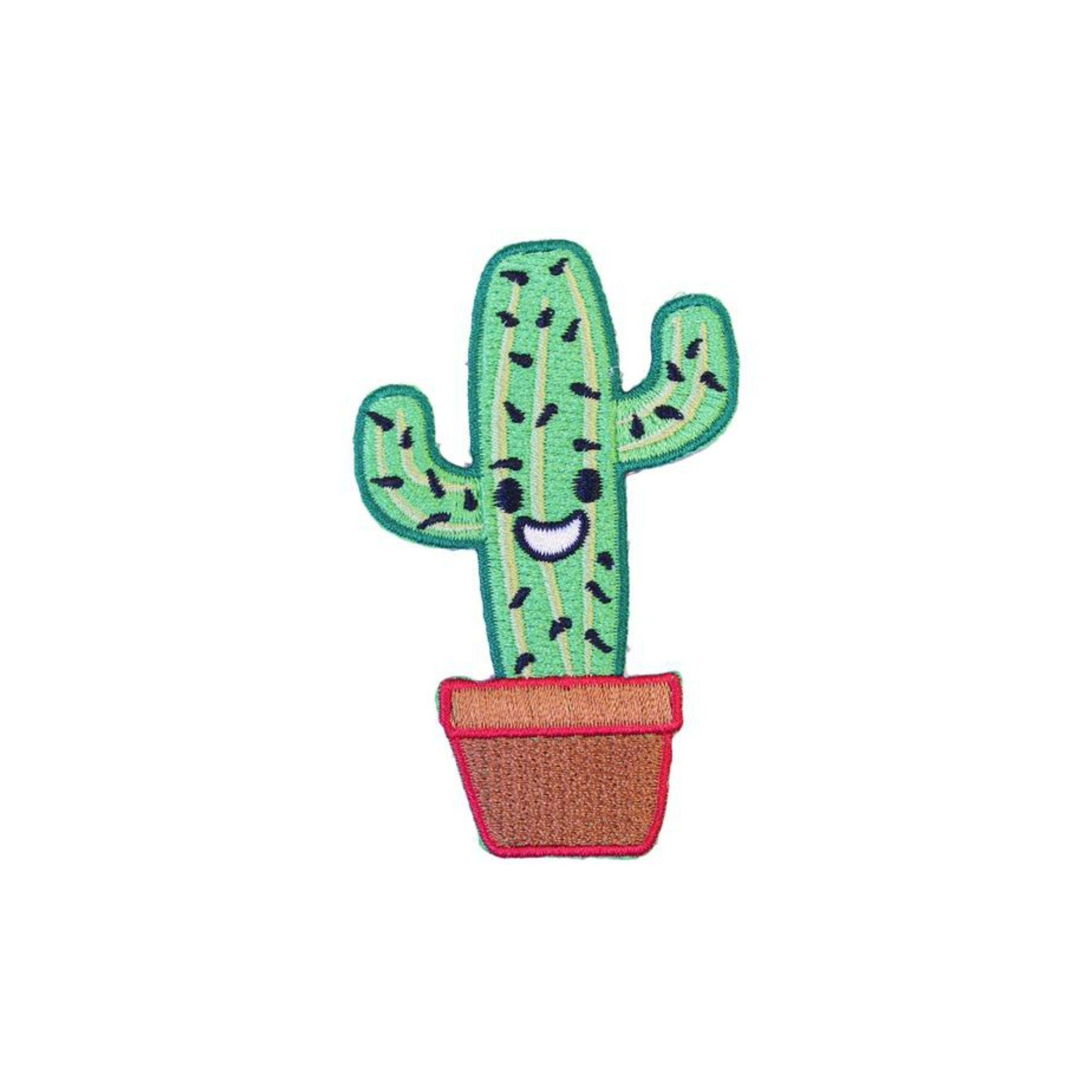 Happy Cactus Iron On Patch - Minimum Mouse
