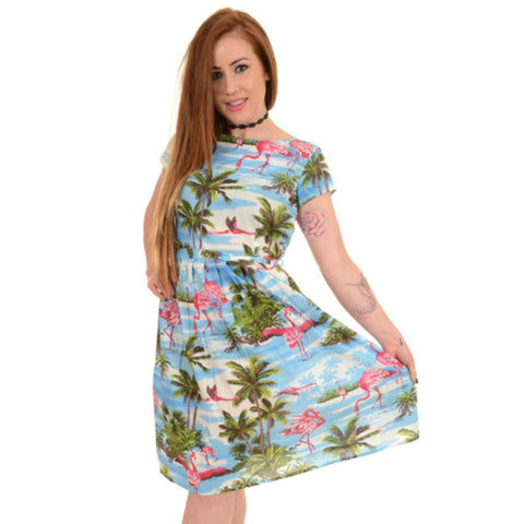 Hawaiian Flamingo Print Dress by Run and Fly - Minimum Mouse