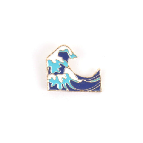 Hokusai Wave Enamel Lapel Pin Badge - Minimum Mouse