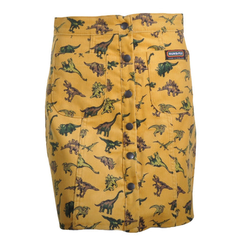 Honey Gold Dinosaur Print Button Front Skirt by Run and Fly - Minimum Mouse