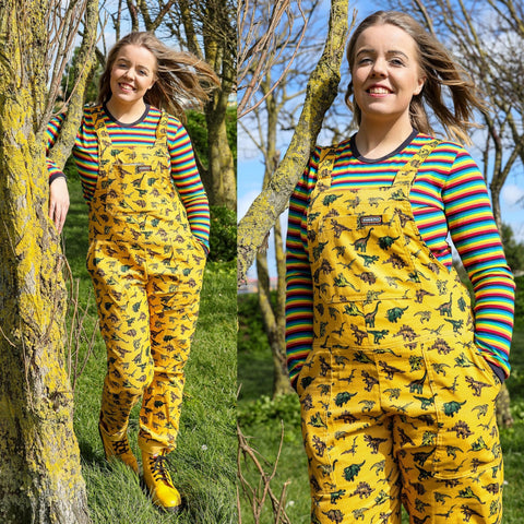 Honey Gold Dinosaur Print Dungarees in Corduroy by Run and Fly - Minimum Mouse
