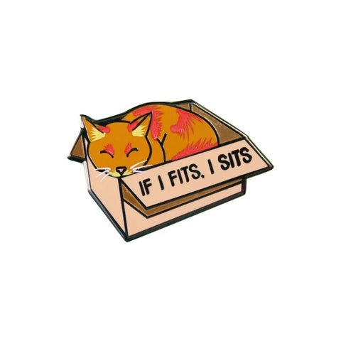 If I Fits I Sits Cat Lapel Pin Badge - Minimum Mouse