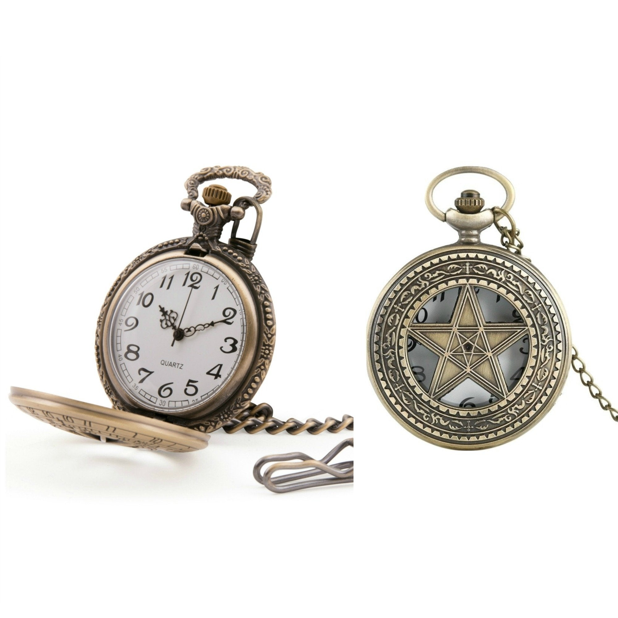 Inlaid Pentagram Quartz Pocket Watch - Minimum Mouse