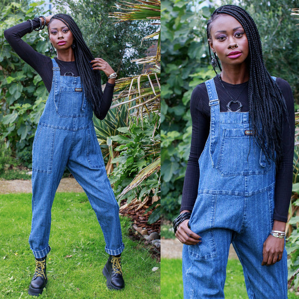Blue Stripe Denim Dungarees by Run and Fly