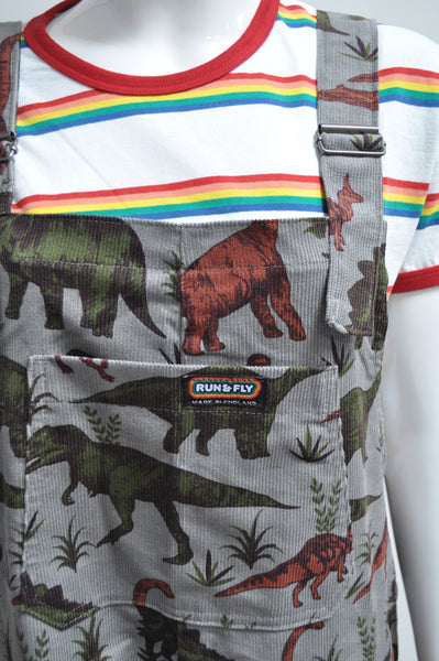 Jurassic Adventure Cord Dinosaur Dungarees by Run and Fly - Minimum Mouse