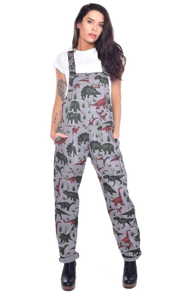 Jurassic Adventure Cotton Twill Dinosaur Dungarees by Run and Fly - Minimum Mouse