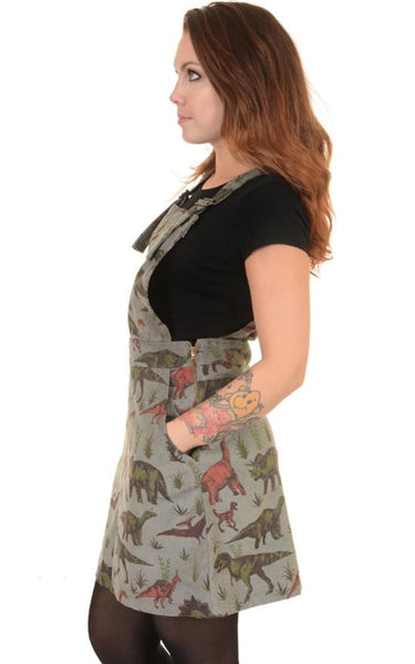 Jurassic Adventure Dinosaur Cord Dungaree Pinafore Dress by Run and Fly - Minimum Mouse