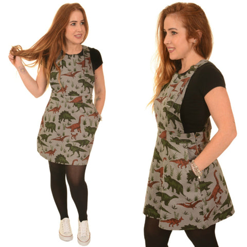 Jurassic Adventure Dinosaur Cotton Dungaree Pinafore Dress by Run and Fly - Minimum Mouse