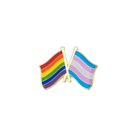LGBT & Trans Flag Enamel Lapel Pin Badge - Minimum Mouse