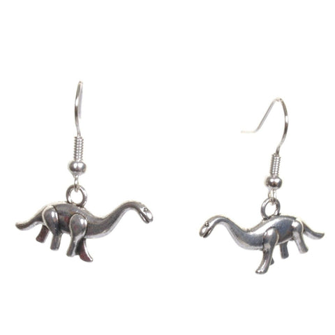Little Silver Diplodocus Dinosaur Earrings - Minimum Mouse