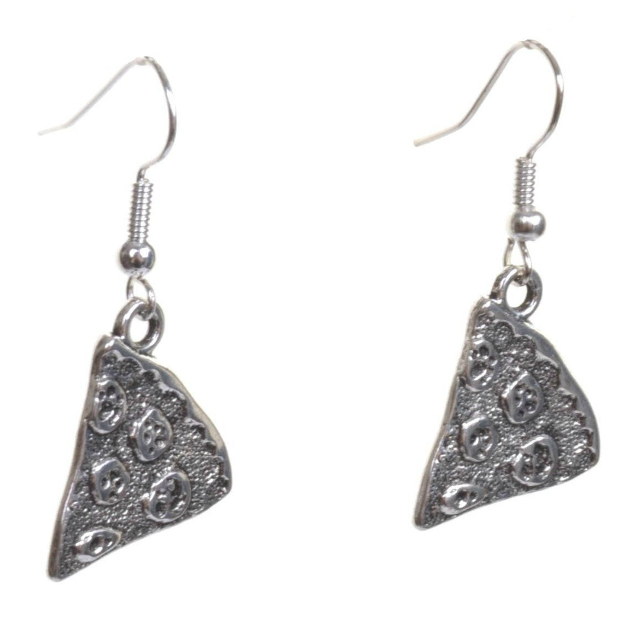 Little Silver Pizza Slice Earrings - Minimum Mouse