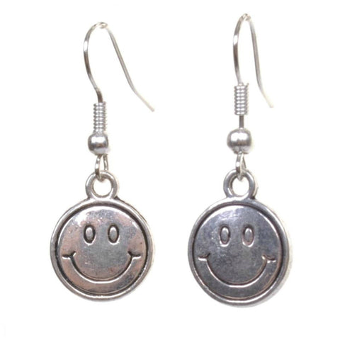 Little Silver Smiley Face Earrings - Minimum Mouse
