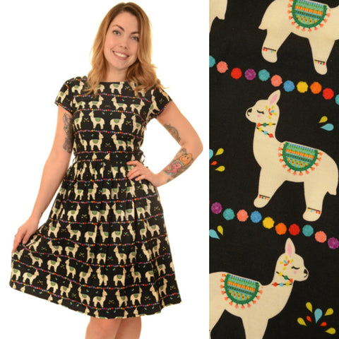 Llama Fiesta Print Dress by Run and Fly - Minimum Mouse