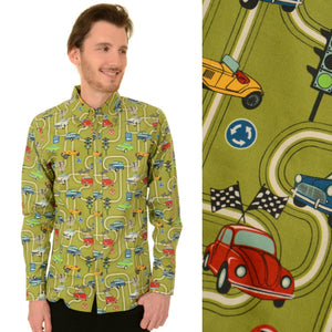 Long Sleeve Mod Car Print Shirt by Run and Fly - Minimum Mouse