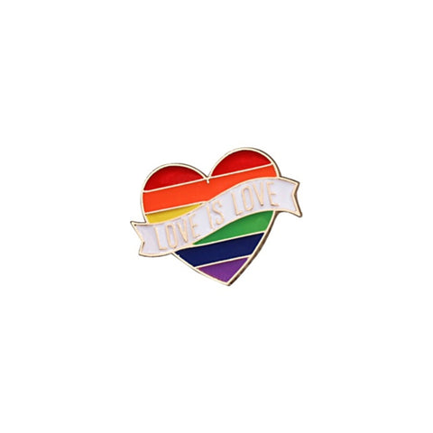Love Is Love LGBT Rainbow Heart Lapel Pin Badge - Minimum Mouse