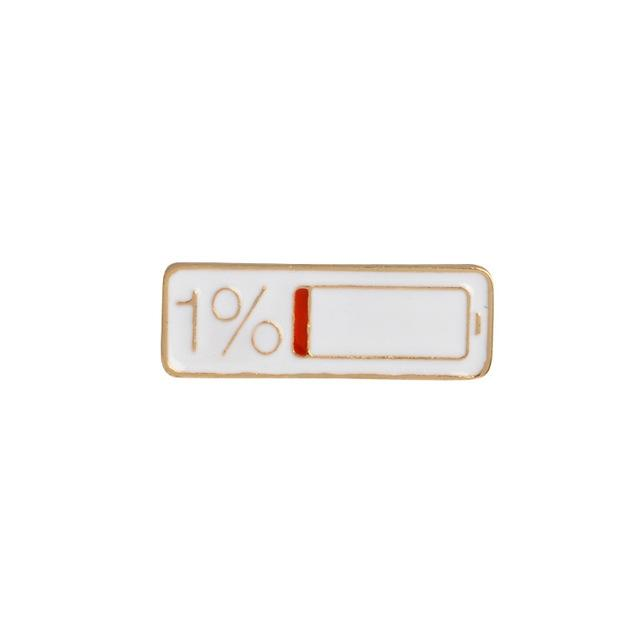 Low Battery Enamel Lapel Pin Badge - Minimum Mouse