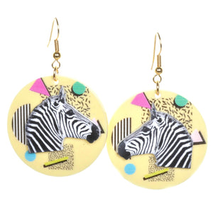 Memphis Zebra Earrings by Love Boutique - Minimum Mouse