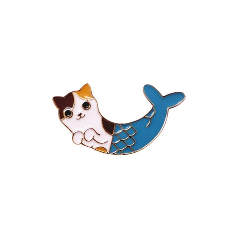 Mermaid Cat Enamel Lapel Pin Badge - Minimum Mouse