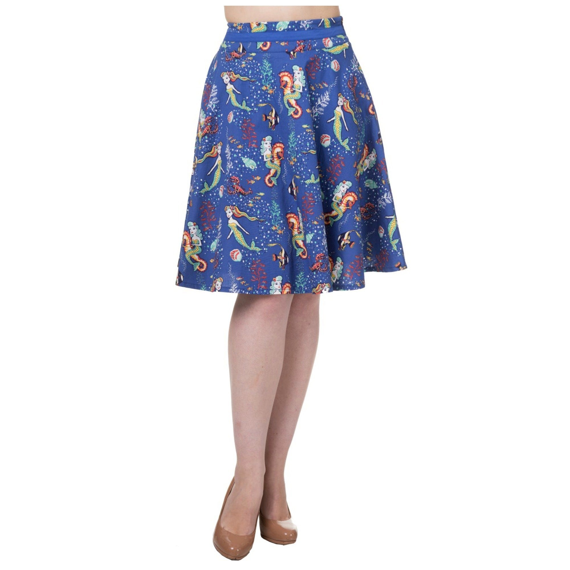Mermaids and Seahorses Skirt by Banned Apparel - Minimum Mouse