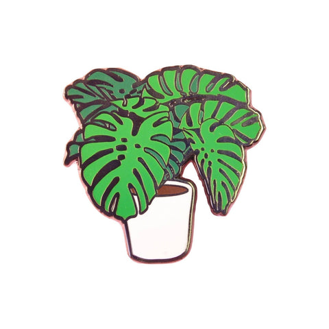 Monstera Plant Lapel Pin Badge - Minimum Mouse