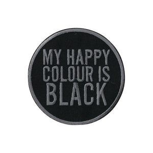 My Happy Colour Is Black Iron On Patch - Minimum Mouse