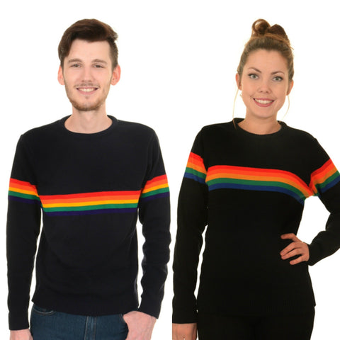 Navy Rainbow Stripe Jumper by Run and Fly - Minimum Mouse