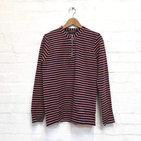 Navy Striped Zip Neck Jumper by Run and Fly - Minimum Mouse