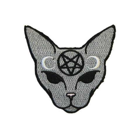 Pentagram Cat Iron On Patch - Minimum Mouse