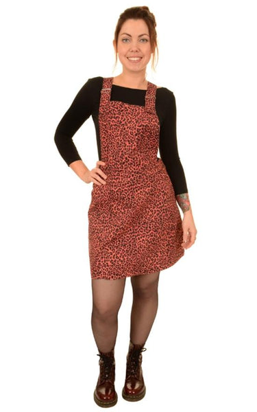 Pink Leopard Print Dungaree Pinafore Dress by Run and Fly - Minimum Mouse