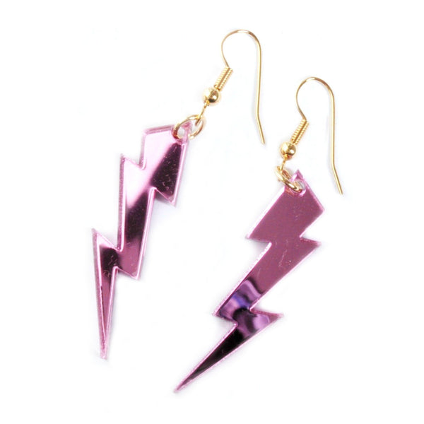Pink Lightning Bolt Earrings by Love Boutique - Minimum Mouse
