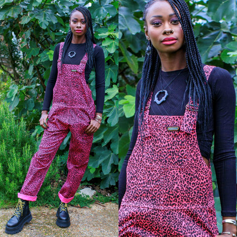 Pink Leopard Print Dungarees by Run and Fly