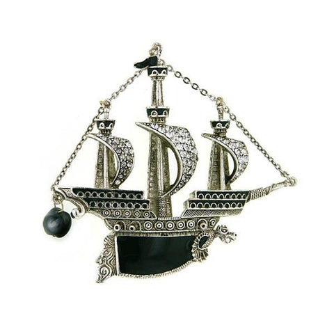 Pirate Ship Metal Papel Pin Badge Brooch - Minimum Mouse