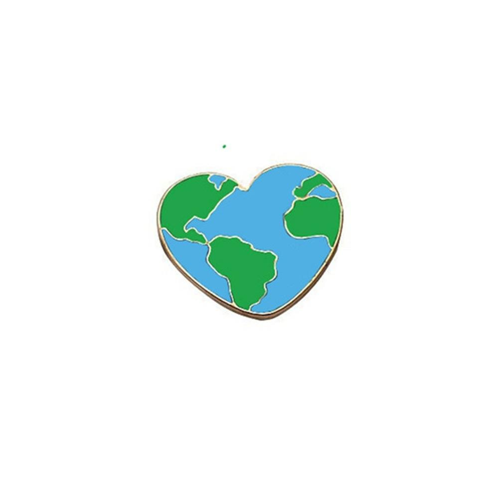 Planet Earth Heart Enamel Lapel Pin Badge - Minimum Mouse