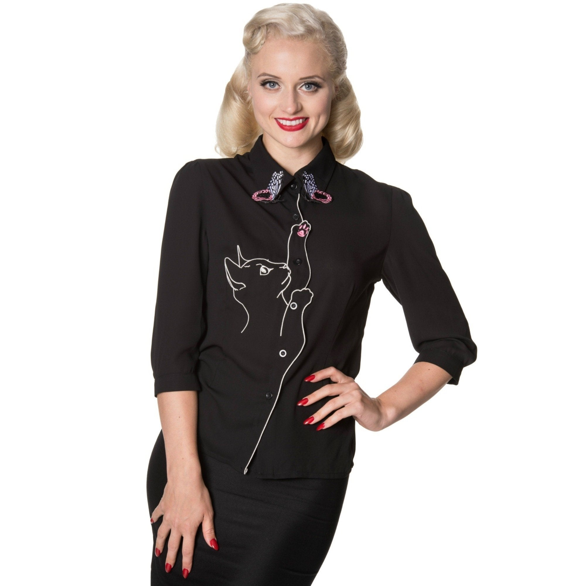 Playful Kitty Cat Blouse by Banned Apparel - Minimum Mouse