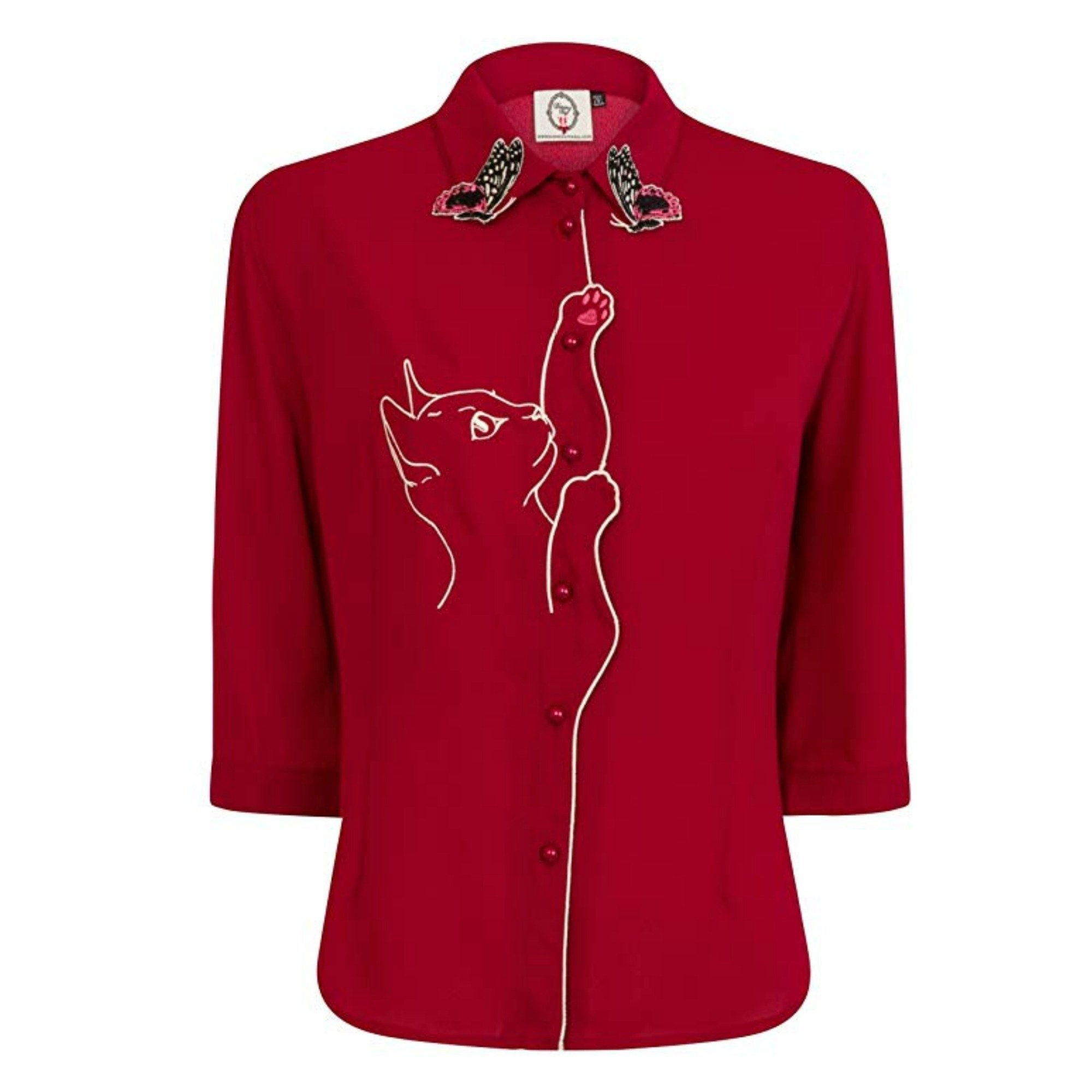 Playful Kitty Cat Blouse by Banned Apparel in red - Minimum Mouse