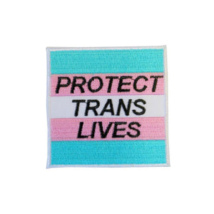 Protect Trans Lives Iron On Patch - Minimum Mouse